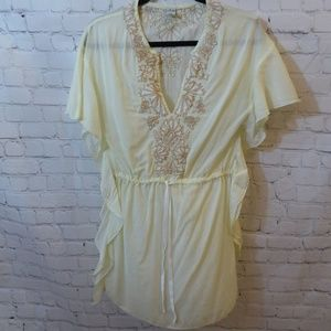 Free People Embroidered Yellow Blouse Size 2